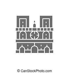 icon., dama, punto di riferimento, parigi, cattedrale, notre, grigio, francia