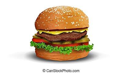 icon., hamburger, 3d, oggetto, realistico, vettore, isolato