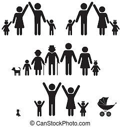icon., persone, silhouette, famiglia