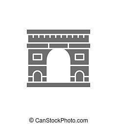 icon., punto di riferimento, parigi, arco, trionfale, grigio, francia