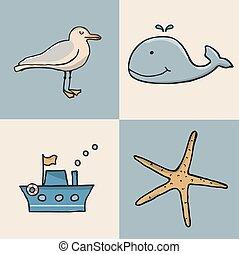 icon., set, marino, cartone animato