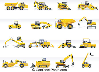 icon., vettore, trasporto, trattore