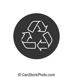 icon., vettore, web, bianco, appartamento, riciclare, linea, concept., isolato, segno, simbolo., freccia, rifiuti, disegno, spreco, eco, bio