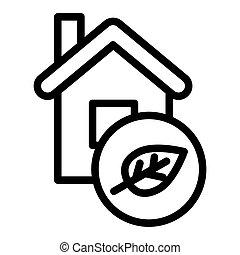 icon., white., vettore, app., casa, isolato, illustrazione, disegnato, eco, foglia, disegno, linea, web, casa, eps, 10., stile, ecologia, contorno