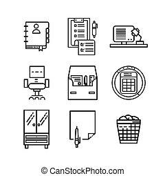 icona, 2, set, ufficio, roba