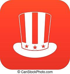 icona americana, cappello, rosso, digitale