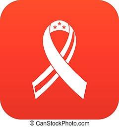 icona americana, nastro, rosso, digitale