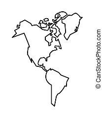 icona, americano, continente, nuovo, isolato