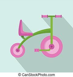 icona, appartamento, ragazza, stile, triciclo