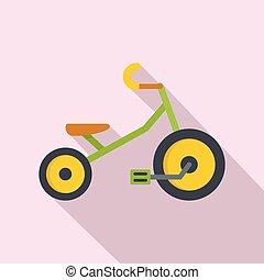 icona, appartamento, stile, bambini, triciclo