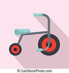 icona, appartamento, stile, capretto, triciclo