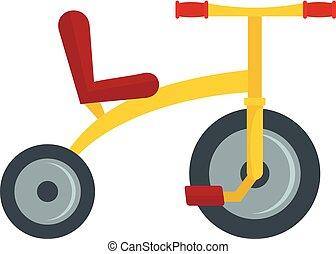 icona, appartamento, stile, giallo, triciclo