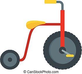 icona, appartamento, stile, rosso, triciclo