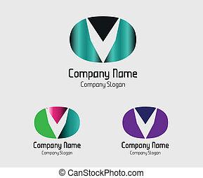 icona, astratto, vettore, lettera, v