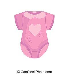 icona, bambino, vestire, cuore, rosa