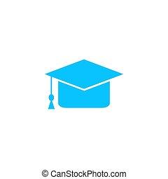 icona, berretto, flat., graduazione