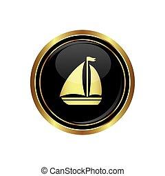 icona, bottone, barca vela