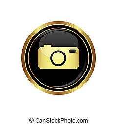 icona, bottone, macchina fotografica