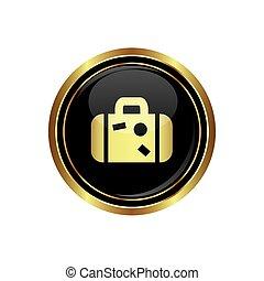 icona, bottone, valigia
