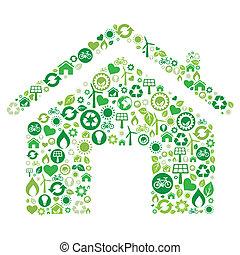 icona, casa, verde