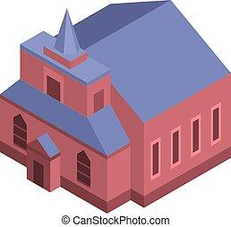 icona, cattolico, isometrico, stile, chiesa