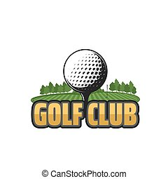 icona, club, golf, vettore, campo, palla