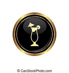 icona, cocktail, bottone