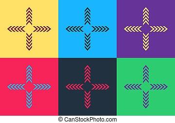 icona, colorare, arte, quattro, pop, isolato, fondo., frecce, indicazione, vettore