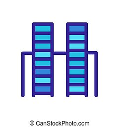 icona, contorno, illustrazione, grattacielo, simbolo, isolato, vector.