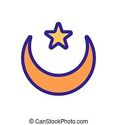 icona, contorno, illustrazione, luna, simbolo, stella, isolato, vector.
