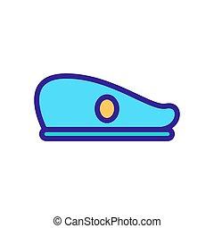 icona, contorno, vector., illustrazione, berretto, simbolo, isolato, esercito