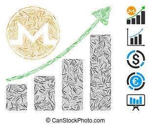 icona, crescita, collage, grafico, monero, lineetta