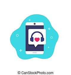 icona, cuffie, audio, telefono, podcast, musica