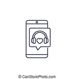 icona, cuffie, linea, telefono, podcast, musica