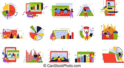 icona, dati, analisi, set