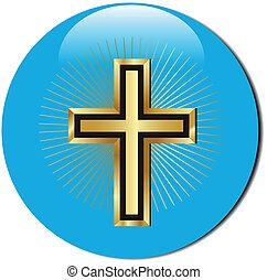 icona, dorato, croce