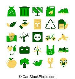 icona, ecologia, set., ambiente, pictogram, collezione