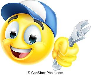 icona, emoticon, emoji, o, idraulico, chiave, meccanico