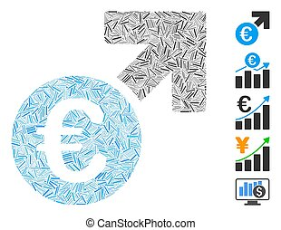 icona, euro, crescita, collage, lineetta
