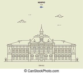 icona, finland., punto di riferimento, kuopio, salone, città