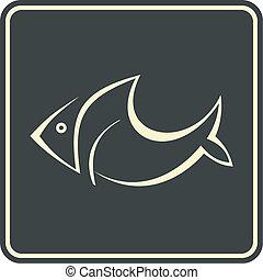 icona, fish, vettore, -, segno