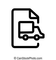 icona, fondo, consegna, isolato, bianco, accordo, corriere documento, o, contorno