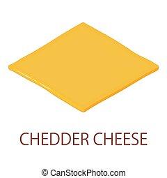 icona, formaggio, isometrico, cheddar, stile