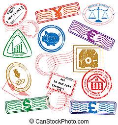 icona, francobolli, finanza, set