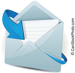 icona freccia, blu, email