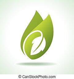 icona, fresco, foglia verde