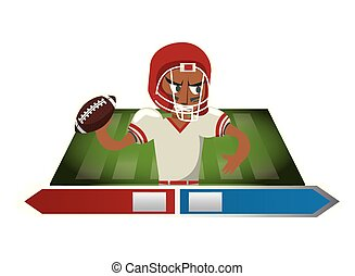 icona, giocatore, football americano, carattere
