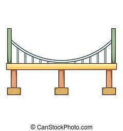 icona, grande, stile, cartone animato, ponte