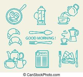 icona, illustrazione, set., appartamento, colazione, vettore