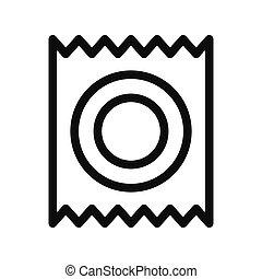 icona, illustrazione, simbolo, isolato, preservativo, vettore